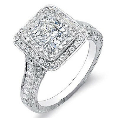 2.70 Ct Cushion Cut  Dual Halo Diamond Engagement Ring I,VS1 GIA Cert Platinum