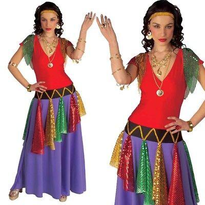 TOP Buntes Pailetten Wahrsagerin Zigeunerin Piratinen Kleid - Damen Kostüm S -XL