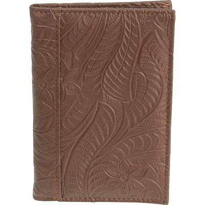 Brown Tooled Design Leather Passport Cover, Womens Travel ID Card Protect Wallet