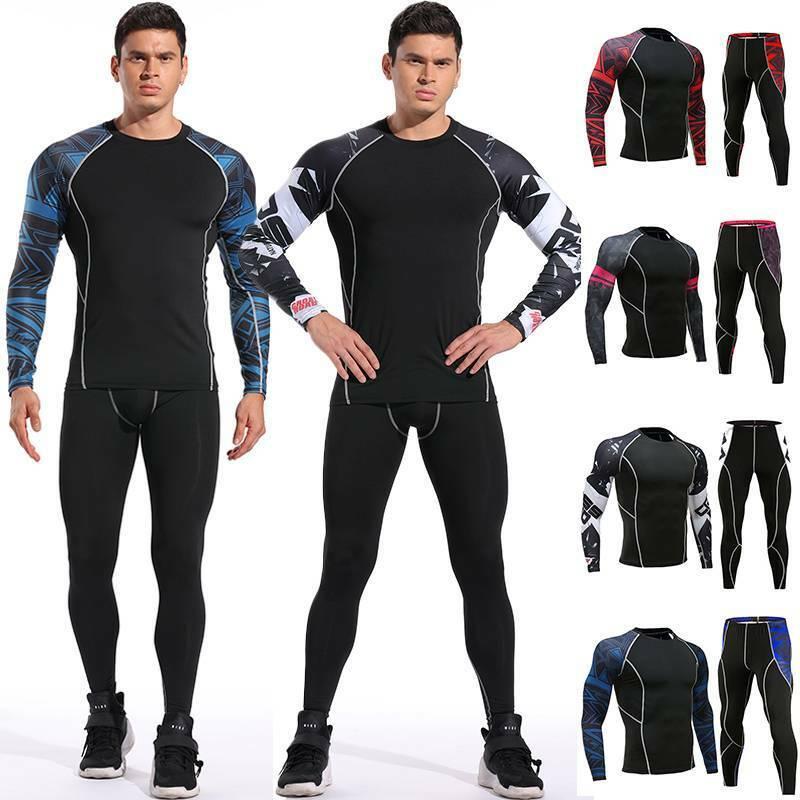 Men Compression Thermal Base Layer Tights T-Shirt Top Long P