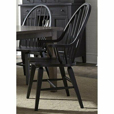 Bowery Hill Windsor Back Dining Arm Chair in Black Back Windsor Dining Chair