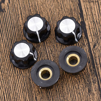 5 Pcs Black Knob For Rotary Taper Potentiometer Hole 6mm Encoder Rotary Switch
