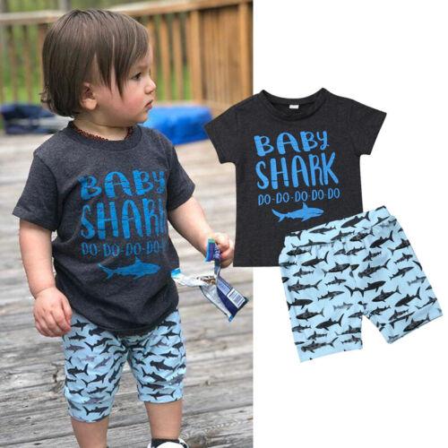 Toddler Baby Boy Shark Summer Clothes Tops T-Shirt Shorts Pants 2PCS Outfits Set