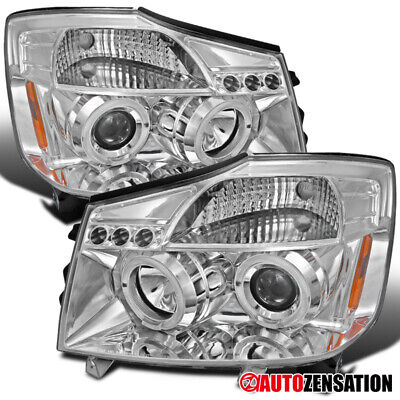 For 2004-2007 Nissan Titan Armada Clear LED Halo Projector Headlights Lamps