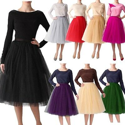 Womens Tulle Tutu A line Skirt Short Knee Length Prom Princess Ballet Dress 3XL