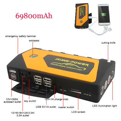 69800mAh LED Set fire to Car Jump Start Starter Charger Battery Power Bank Booster 12V