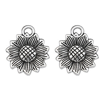 20pcs Antique Silver Sunflower Charm Pendant Jewelry Making Bracelet Accessories (Sunflower Charm)