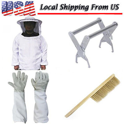 Set  Beekeeping Protective Jacket Veil Suit + Bee Brush Tool Equipment + Gloves