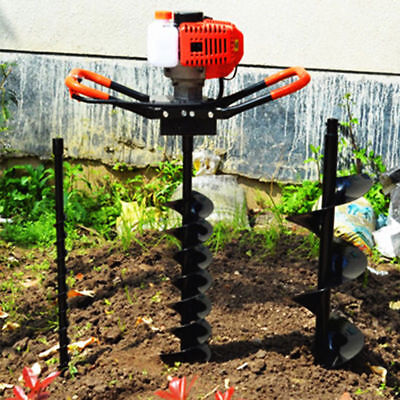 2-Stroke 52CC  Gas Powered Post Hole Digger Auger Borer Fence Drill+3 Bits