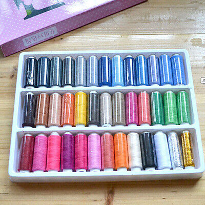 1 Box 39 Pcs Spools Colorful Polyester Embroidery Sewing Quilting Thread XJ