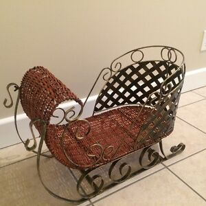 Wicker and Metal Decorative Sleigh