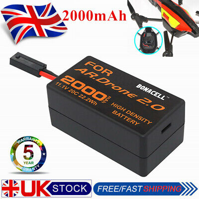 Upgrade 2.0AH 11.1V Replacement Battery for Parrot AR Drone 2.0 RC Quadcopter UK