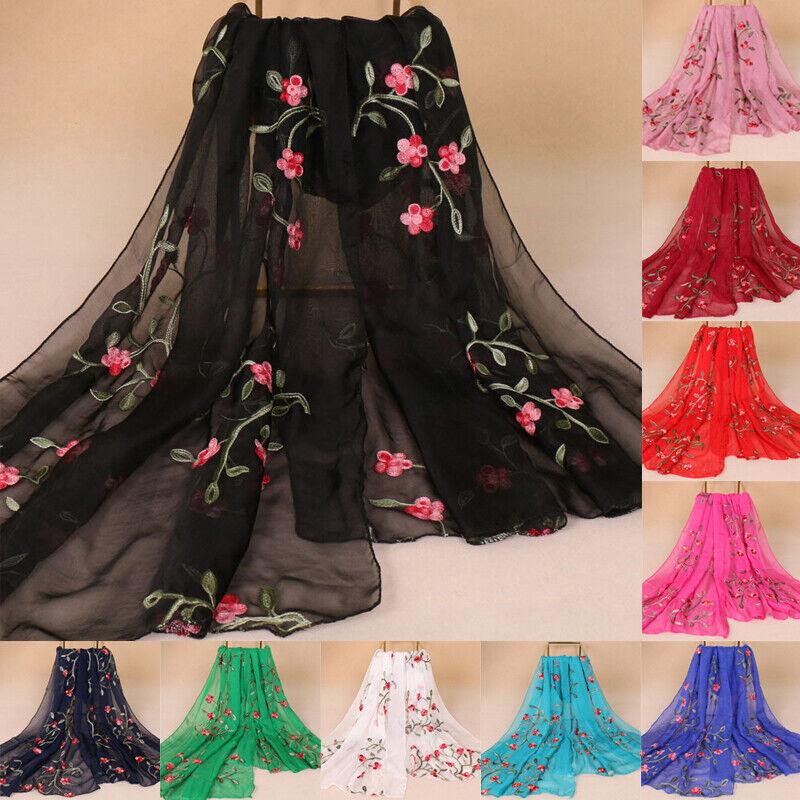 Women Long Scarf Muslim Chiffon Embroidery Hijab Arab Shawl