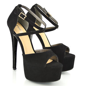 WOMENS PEEP TOE STRAPPY PLATFORM STILETTO