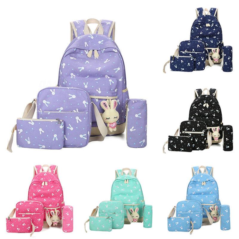 5Pcs Women Canvas Backpack Rabbit Seminary Travel Girls Shoulder Big Book Bag Best