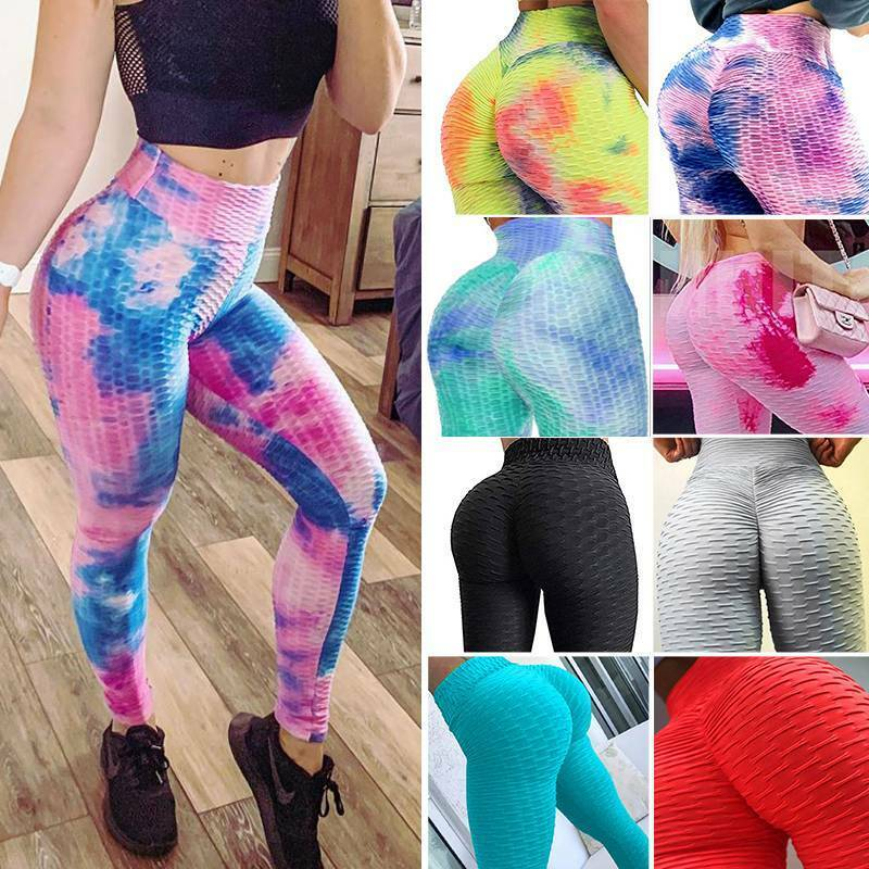 Women Ruched Yoga Pants Anti Cellulite Butt Lift Legging Dyeing ...