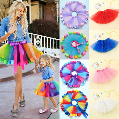 US Women Girl Princess Tulle Tutu Skirt Adult Kids Ballet Dance Party Mini Dress