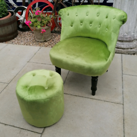 Scotts and Co light green velvety chair and stool