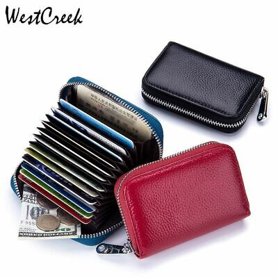 Womens Business Card Holder (RFID Credit Card Holder Genuine Cowhide Leather Organizer Business Womens Wallet)