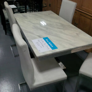 Marble top dining table w/4 matching chairs