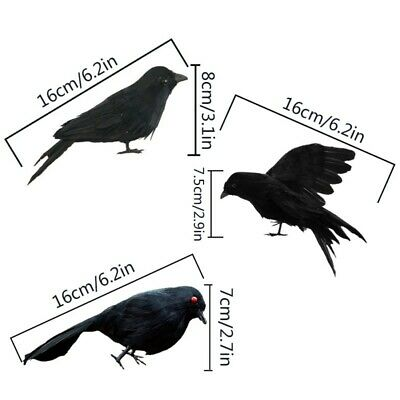 Fake Black Birds Halloween (Black Crow Fake Birds Toys Ravens Prop Fancy Dress Halloween Decoration)