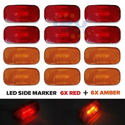 12PC Trailer Marker LED Light Truck Lorry AUTO RV Clearance Lights Red/Amber for sale  USA