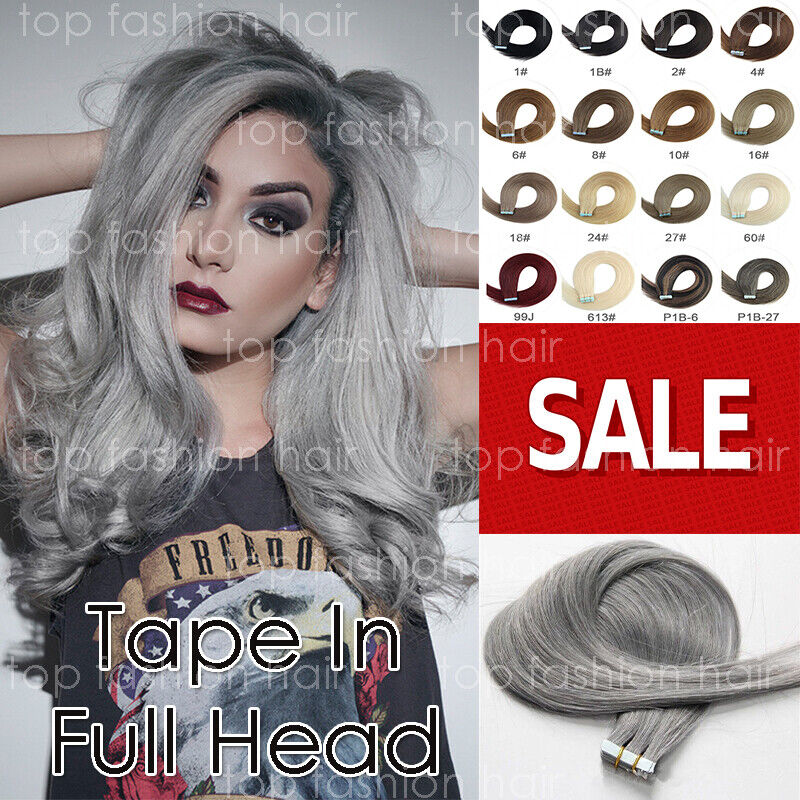 SALE Tape In Stick 100% Human Remy Hair Extensions Black Bro