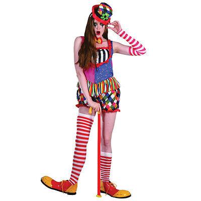 Rainbow Colored Halloween Costumes (Rainbow Clown #Female Costume Multi Coloured Fancy Dress)