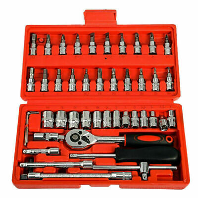 "46 Pcs Socket Wrench Set 1/4"" Drive Ratchet Metric Kit Garage Car Repair Tools"