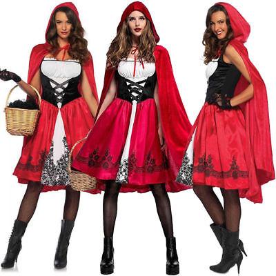 Adult Little Red Riding Hood Long Cape Party Fancy Dress Women Halloween Costume