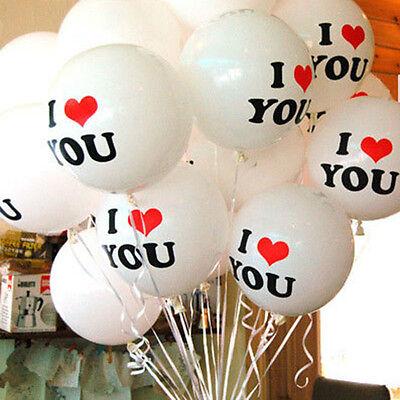 10x White I LOVE YOU Latex Balloons Birthday Party Wedding Anniversary Decor NJ