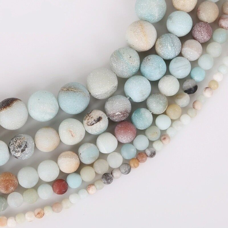 4 6 8 10mm Lot Natural Frosted Stone Loose Bead Bracelet Jewelry