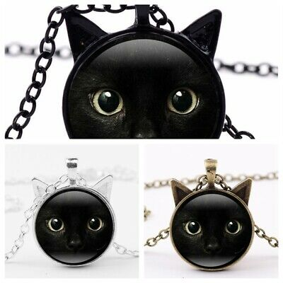 New Black Cat Face Eyes Round Glass Long Chain Pendant Jewelry Choker (Cat Eye Glasses Round Face)