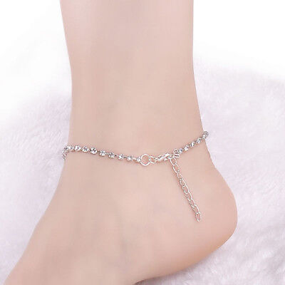 Women Lady Crystal Rhinestone Love Heart Anklet Ankle Bracelet Chain Jewelry Anklets