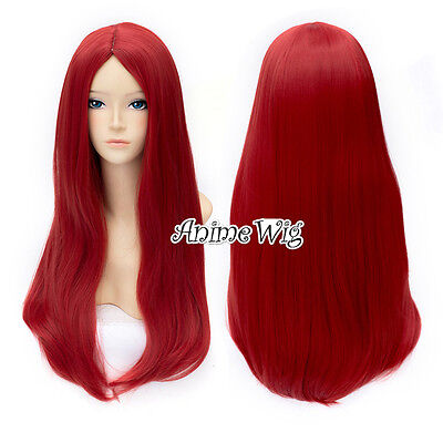 Lolita Red 60CM Long Wavy Hair Heat Resistant Anime Party Cosplay Halloween Wig - Long Red Wig