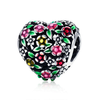 Enamel Sterling Silver Flower Beads - Wostu 925 sterling silver Flower heart Charm with Beautiful Green and Red Enamel