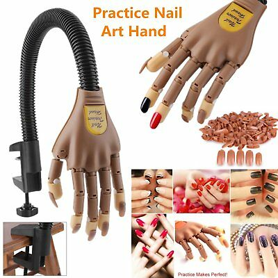 Flexible Nail Training Hand Gel & Acrylic Practice Utility + 100 Replace Nails B