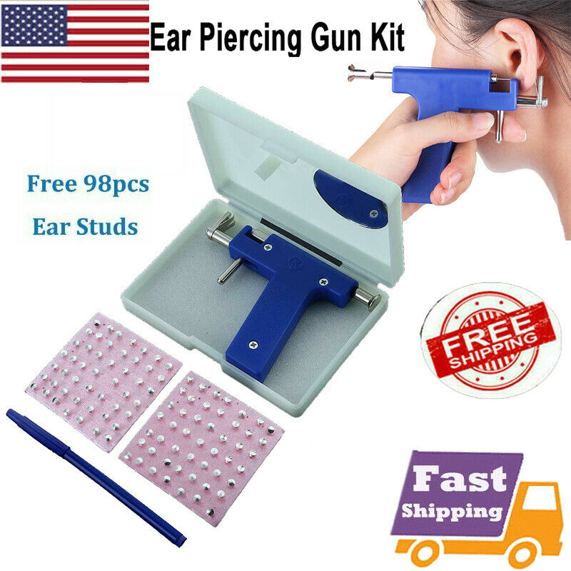 Professional Ear Piercing Gun with 98pcs Studs Kit Tool Set Ear Nose Navel Body