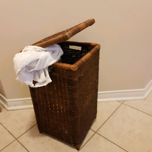 Wicker basket for hiding unmentionables (20 in H x 10.5 in D)