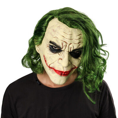 Batman The Dark Knight Joker Mask Cosplay Horror Clown Green Hair Halloween Prop (Dark Knight Clown Mask)