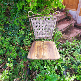 Lovely metal chair with wooden seat
