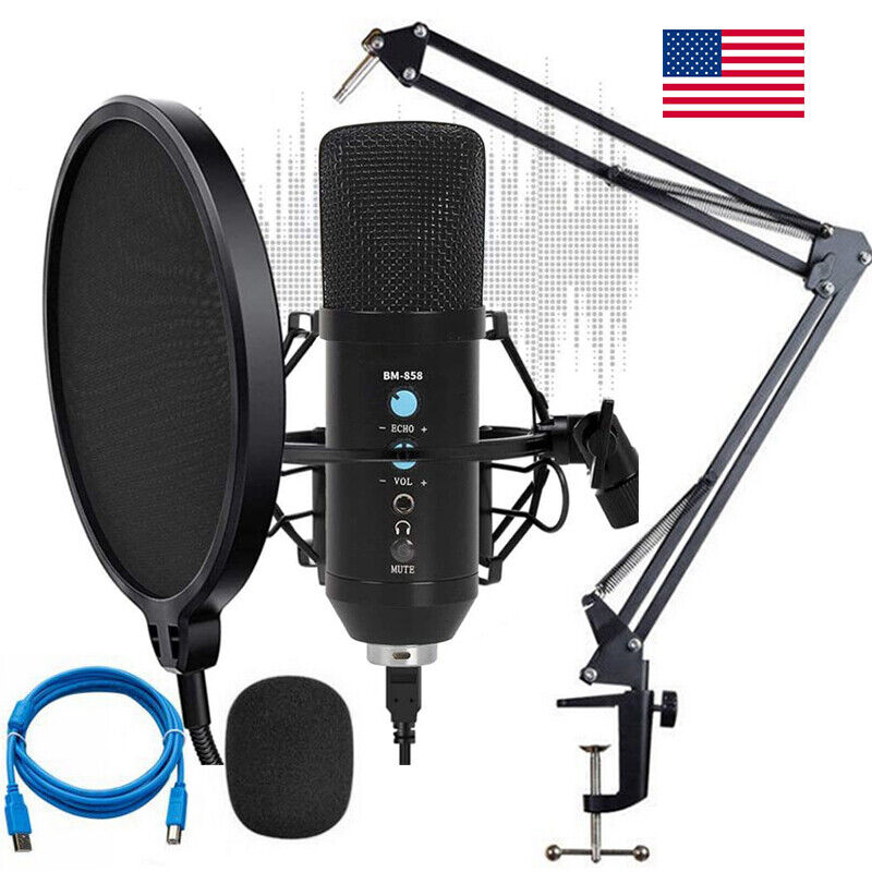 Pro Audio Condenser Microphone Mic Kit Vocal Studio Recording Set Stand BM-858