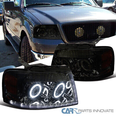 For 04-08 F150 06-08 Lincoln Mark LT Pickup Smoke LED Halo Projector Headlights