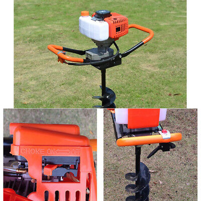 52cc Gas Powered Post Hole Digger Auger468 Bitsextension Bar 12 Air-cooled