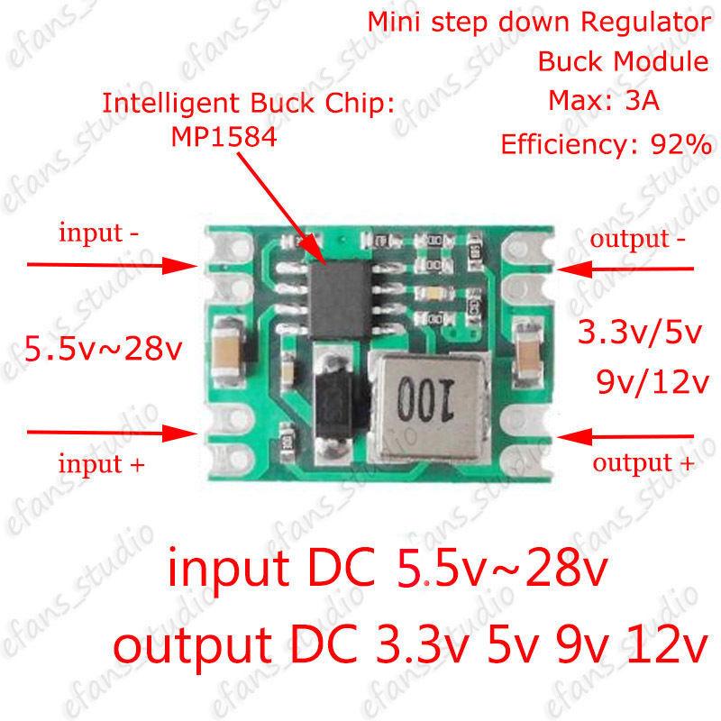 Adjustable DC-DC Buck Step down Converter 5V~24V To 3.3V 9V 12V 3A Power Supply