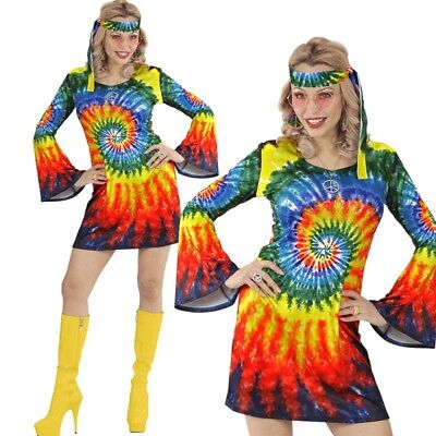 60er 70er HIPPIE GIRL Damen Kostüm L 42/44 Kleid + Stirnband Flower Power - 60er Hippie Girl Kostüm