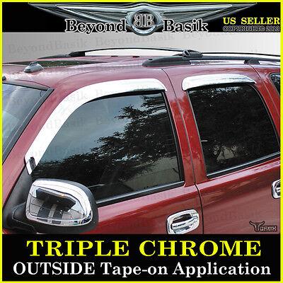 2000-2006 CHEVY TAHOE GMC YUKON 4PC Chrome Door Vent Window Visor Rain Guards