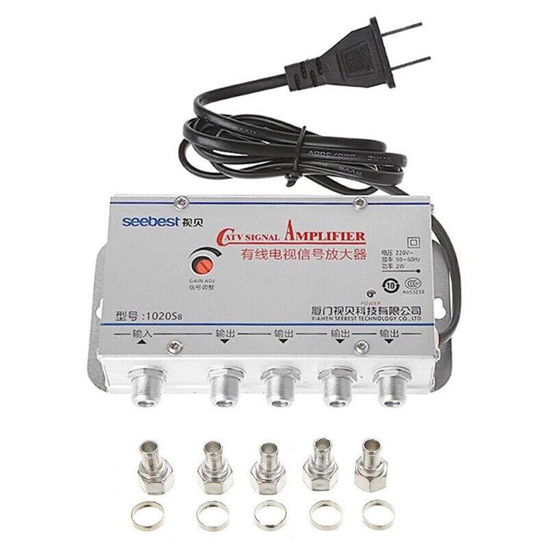 4-Way Port HDTV TV Antenna Signal Amplifier TV CATV Cable Bo