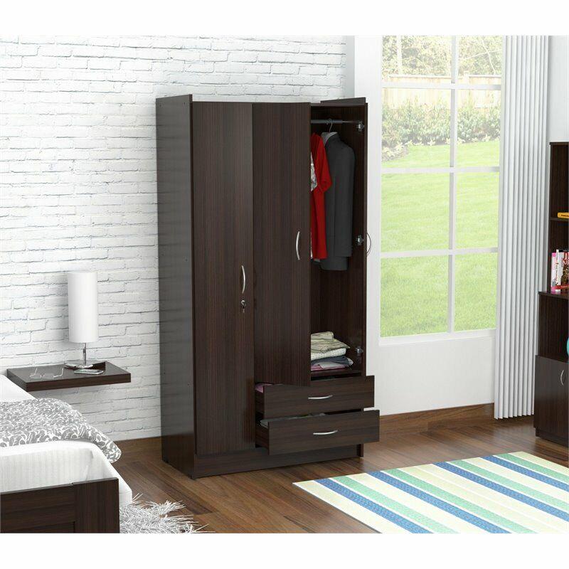Inval Three Door Espresso Wardrobe Armoire