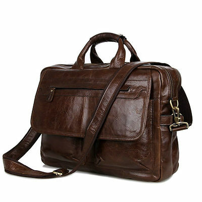 Luxury Genuine Leather Men Handbag Business Briefcase Laptop Shoulder Bag Retro